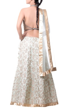 beige & gold lehenga with gota jaal embroidery