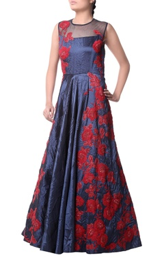 Navy blue red floral pattern gown