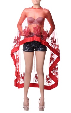 Red net cape with satin and sequence embroidery