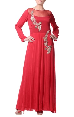 coral pink bugle embroidery gown