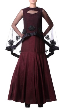 Burgundy mermaid pleated gown with cape