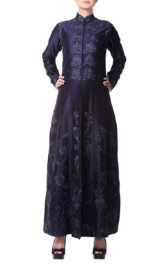 navy blue lehenga jacket