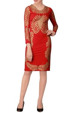 Red printed midi dress.