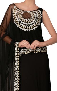 Black draped sleeves dress