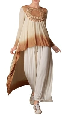Cream & brown asymmetric tunic