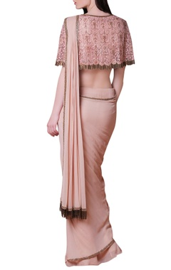 Pink & Beige embroidered sari.