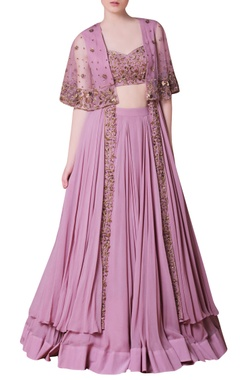 Purple embroidered jacket lehenga