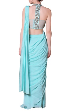 Sky blue floral embroidered sari