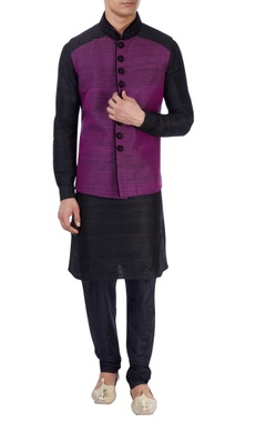 black & purple nehru jacket set
