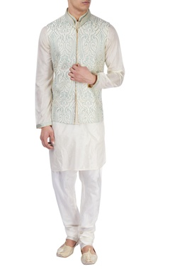 White kurta with embroidered Nehru jacket