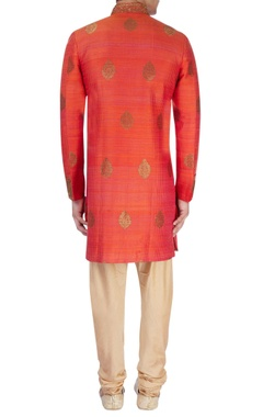 rust orange thread work sherwani