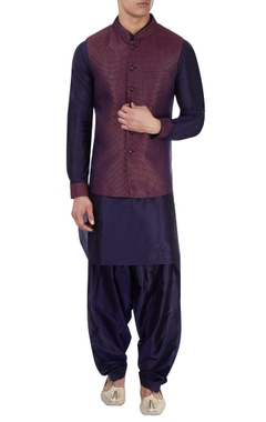 blue kurta & multicolored nehru jacket