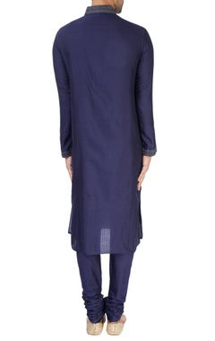 Navy blue textured kurta set