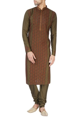 Olive green embroidered kurta set