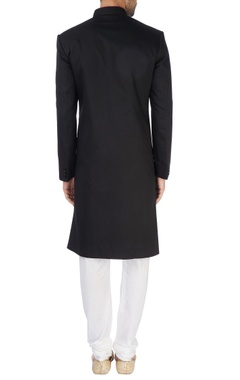 Black embroidered sherwani set