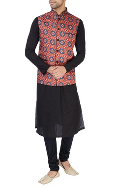 Red ikkat print Nehru jacket