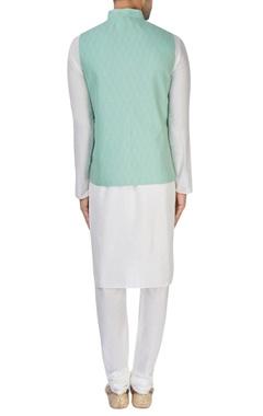 sea green silk nehru jacket
