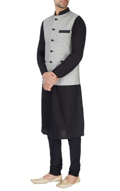Black & white embroidered Nehru jacket