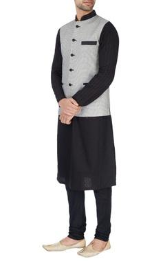 black & white embroidered nehru jacket