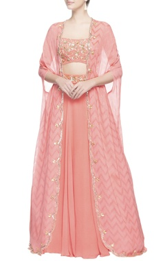 Peach lehenga with kaftan cape