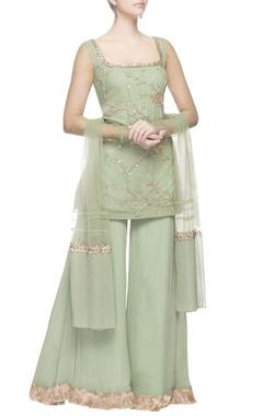 Sage green zardozi embroidered kurta