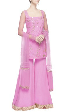 pink sequin embroidered kurta