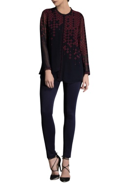 AM:PM Navy blue printed top
