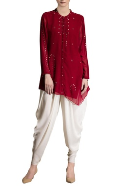 red laser embroidered top