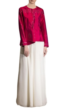 fuschia pink embroidered jacket