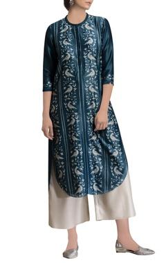 Teal blue shibori print kurta