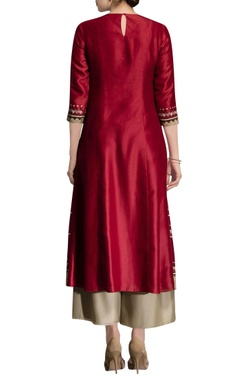 red kurta with beige palazzos