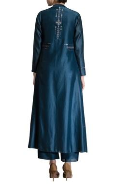 teal blue kurta set with jacket