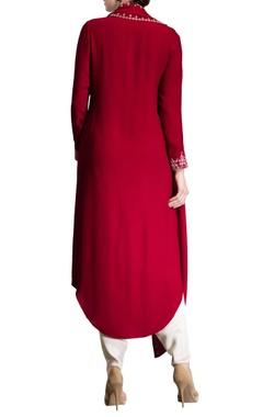 red dori work long kurta
