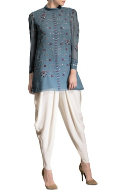 Smokey blue embroidered top