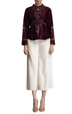 Burgundy embellished blouse