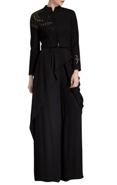 black bird print embellished jacket