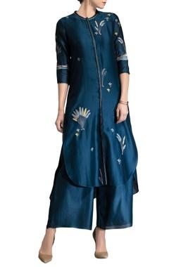 Blue applique work tunic set