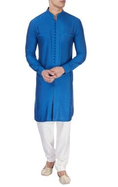 royal blue silk kurta