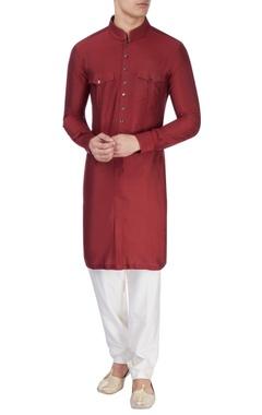 maroon silk long kurta