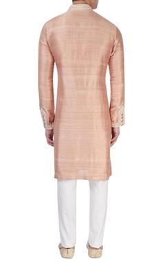 peachy pink silk kurta