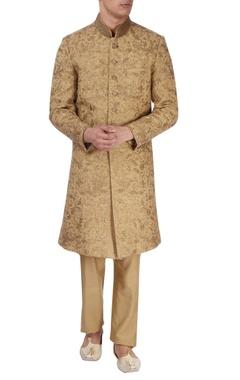 Gold green silk sherwani