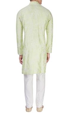 Lime green embroidered kurta