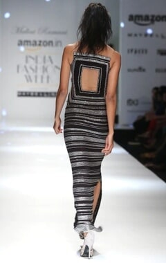black and silver shimmer column dress