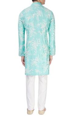 Aqua blue embroidered kurta