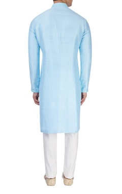 Ice blue silk kurta