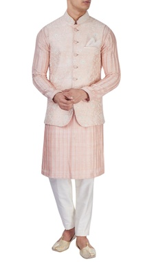 Peachy pink embroidered bandi jacket