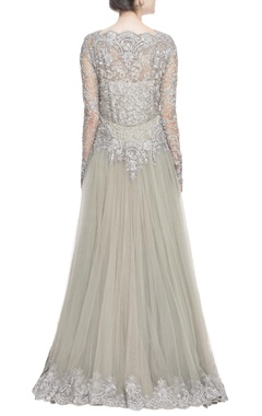 Grey swarovski embroidered gown