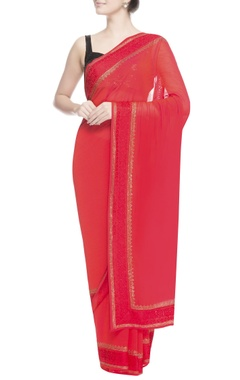 Red thread work embroidered sari