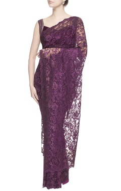aubergine purple chantilly lace sari
