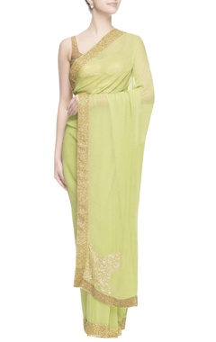 lime green aari embroidered sari
